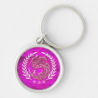Salt water soothes the soul surf art on pink base. Silver-Colored round keychain
