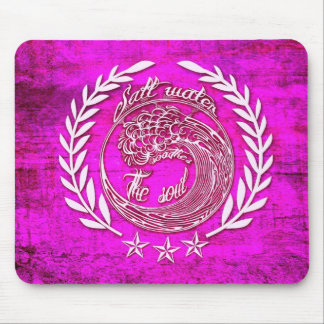 Salt water soothes the soul surf art on pink base. mouse pad