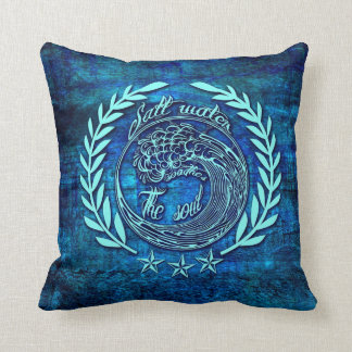 Salt water soothes the soul surfer pillow in blue.