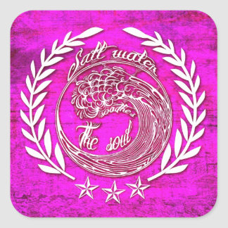 Salt water soothes the soul waves art in pink square sticker