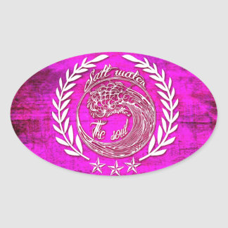 Salt water soothes the soul waves art in pink oval sticker