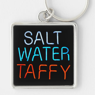 Salt Water Taffy Neon Sign Silver-Colored Square Keychain