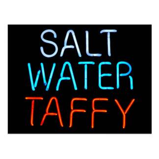 Salt Water Taffy Neon Sign Postcard