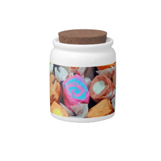 Salt water taffy on a jar