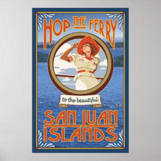 Salta el transbordador - islas de San Juan, poster