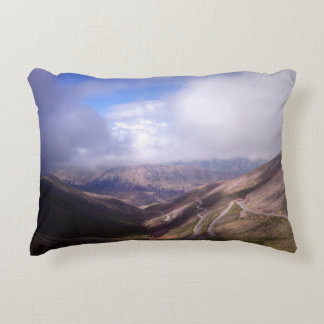 Salta Mountain Serpentine Road With Low Clouds Accent Pillow