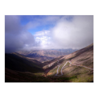Salta Mountain Serpentine Road With Low Clouds Postcard