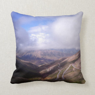 Salta Mountain Serpentine Road With Low Clouds Throw Pillow