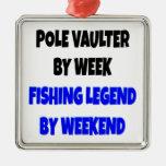 Saltador de poste de la leyenda de la pesca ornamento de navidad