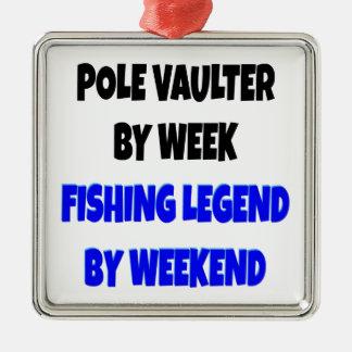 Saltador de poste de la leyenda de la pesca adorno cuadrado plateado