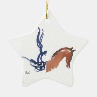 Saltadores ecuestres adorno navideño de cerámica en forma de estrella