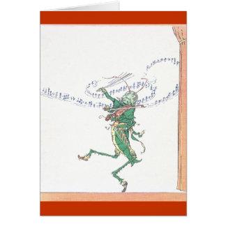 Saltamontes musical que toca el violín tarjeta de felicitación