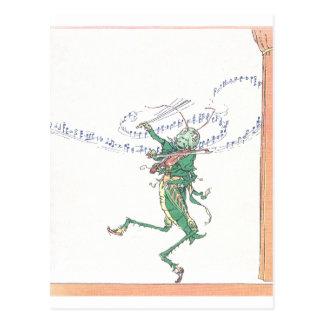 Saltamontes musical que toca el violín postal