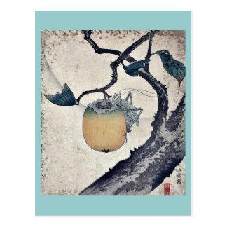 Saltamontes que come el caqui de Katsushika Hokusa Postal