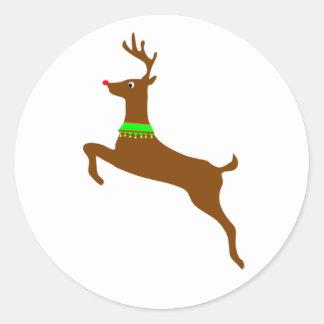 Saltando a Rudolph el reno rojo de la nariz Pegatina Redonda