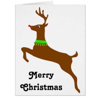 Saltando a Rudolph el reno rojo de la nariz Tarjeta De Felicitación Grande