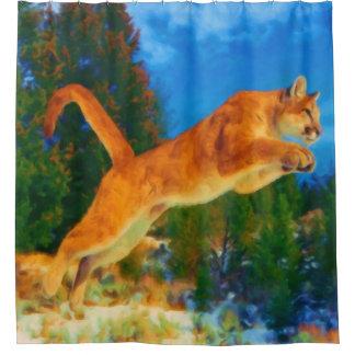 Saltando la cortina de ducha del león de montaña cortina de baño