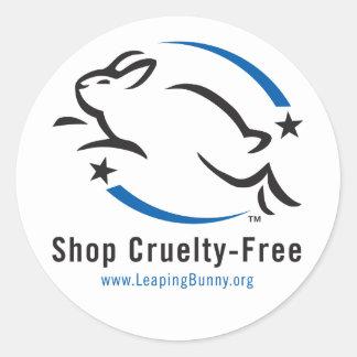 Saltando la tienda del conejito Crueldad-Libre Pegatinas Redondas