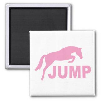 SALTE con el caballo de salto (el rosa) Imán Cuadrado
