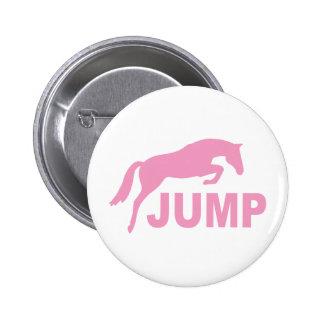 SALTE con el caballo de salto (el rosa) Pin Redondo De 2 Pulgadas