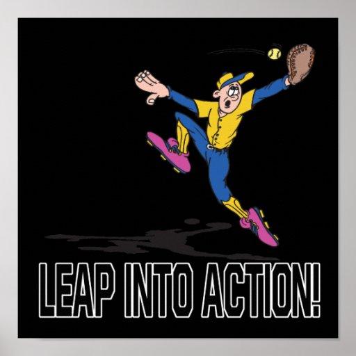 Salte en la acción posters