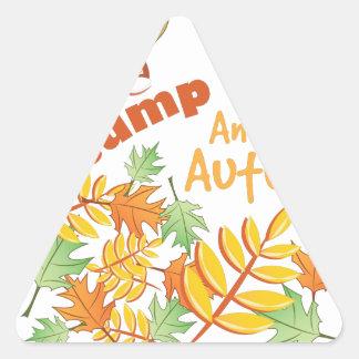 Salte en otoño pegatina triangular