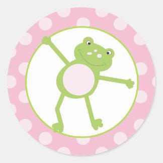 Salte los sellos/los primeros (rosados) 20 del etiqueta redonda