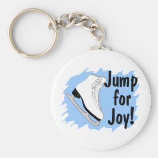 Salte para el patín del azul de la alegría llavero redondo tipo pin