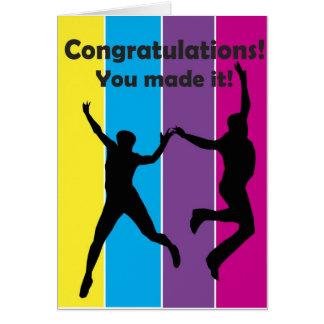 Salte para la alegría tarjeta de felicitación