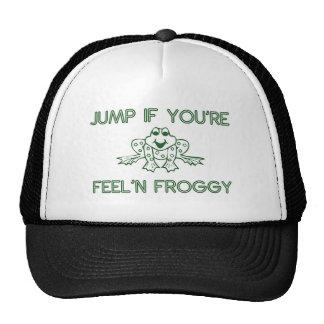 Salte si usted es blanco del froggy del feelin gorros bordados
