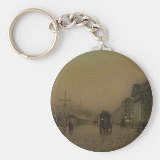 Salthouse Dock, Liverpool by John Atkinson Grimsha Basic Round Button Keychain