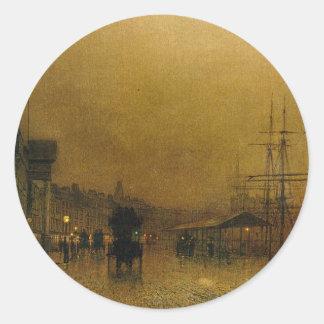 Salthouse Dock, Liverpool John Atkinson Grimshaw Classic Round Sticker