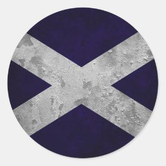 Saltire Grunge Classic Round Sticker