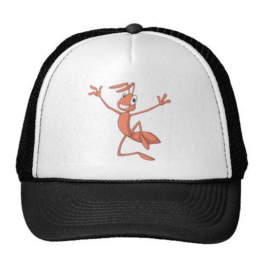 Salto alegre de la hormiga gorras de camionero