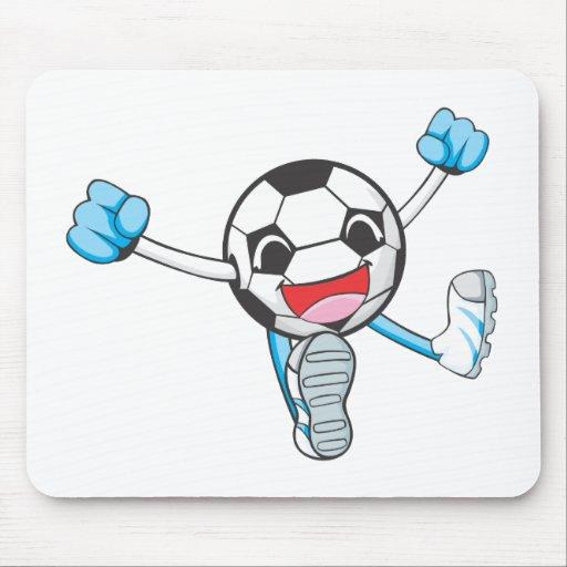 Salto alegre del jugador de fútbol alfombrilla de ratones