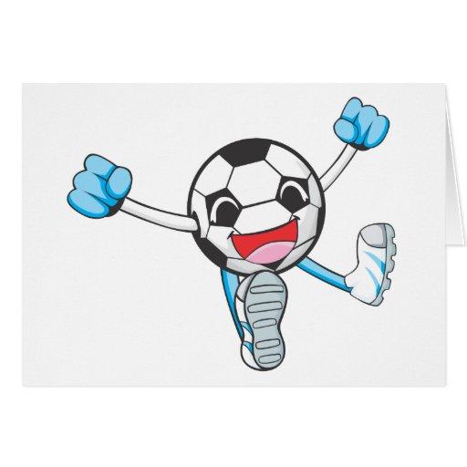 Salto alegre del jugador de fútbol tarjeta de felicitación