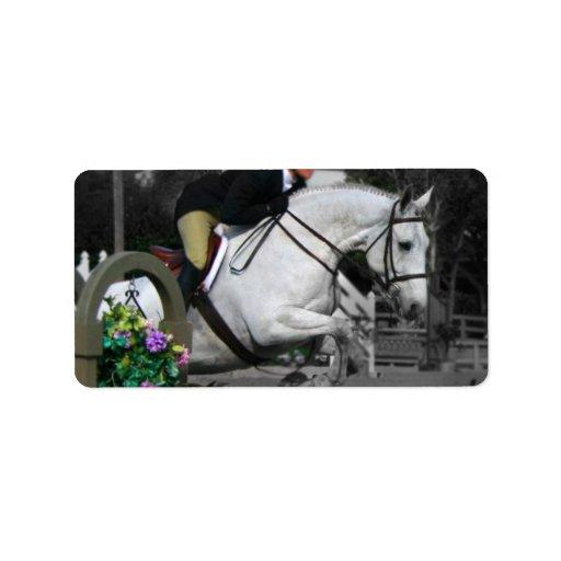 Salto árabe del caballo etiquetas de dirección