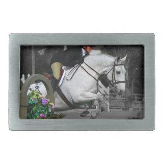 Salto árabe del caballo hebillas cinturon rectangulares