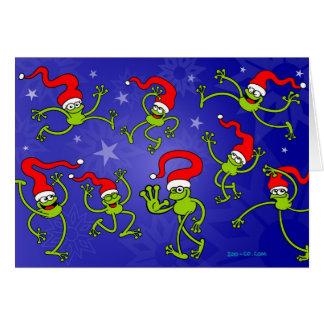 ¡Salto, baile y celebrando de las ranas del navida Felicitacion