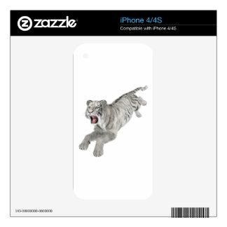 Salto blanco del tigre iPhone 4S calcomanía