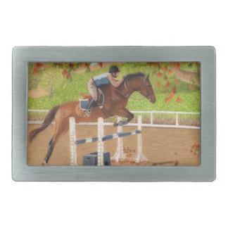Salto colorido del caballo y del jinete hebilla cinturón rectangular