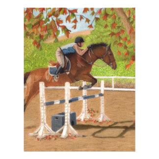 Salto colorido del caballo y del jinete plantilla de membrete