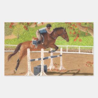 Salto colorido del caballo y del jinete pegatina rectangular