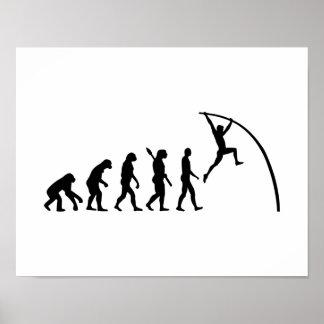Salto con pértiga de la evolución póster