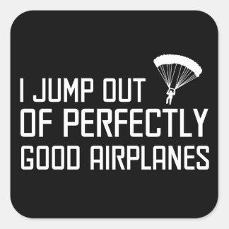 Salto de aeroplanos perfectamente buenos pegatina cuadrada