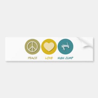 Salto de altura del amor de la paz etiqueta de parachoque