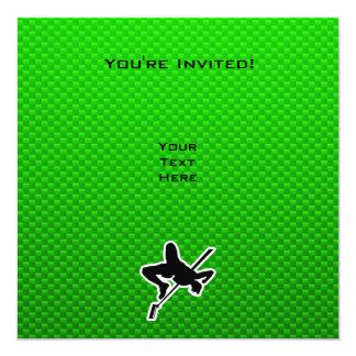 """Salto de altura verde invitación 5.25"""" x 5.25"""""""