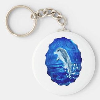Salto de arte del delfín llavero redondo tipo pin