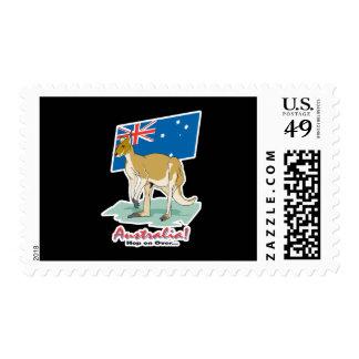 salto de Australia encendido sobre canguro Franqueo