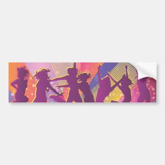 Salto de baile de la gente de FreeVector-Club-Grap Etiqueta De Parachoque